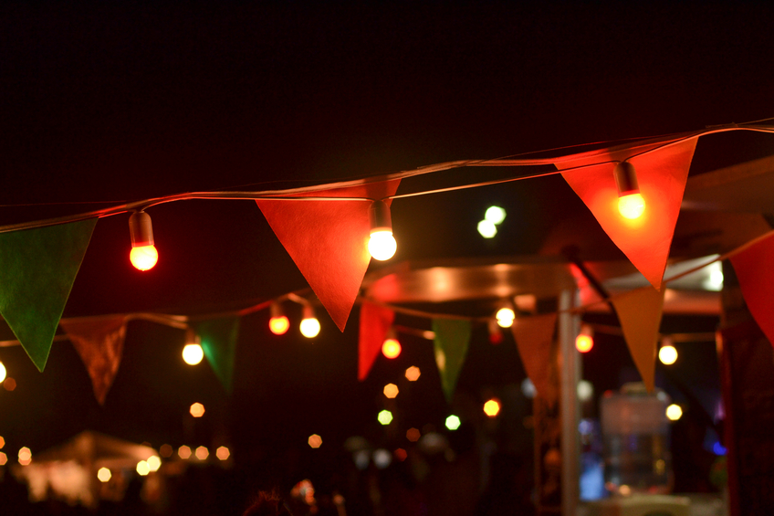 Lights and pennants at night