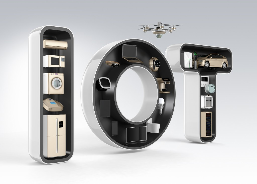Smart appliances in word IoT. Internet of Things in consumer products concept. 3D rendering image in original design.