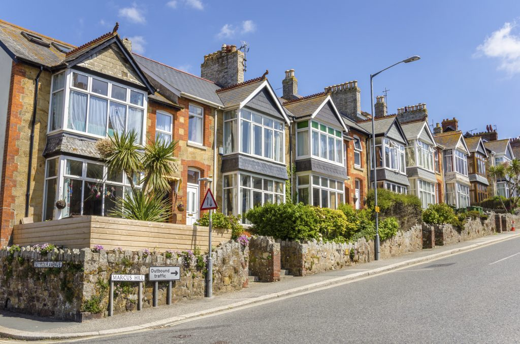 Terraced Houses in England on a Clear Summer Day