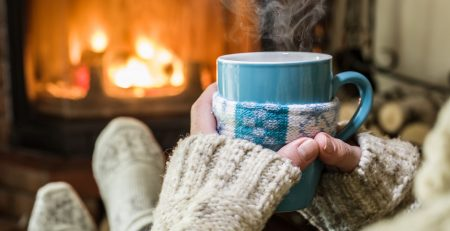 hygge - Warming and relaxing near fireplace.