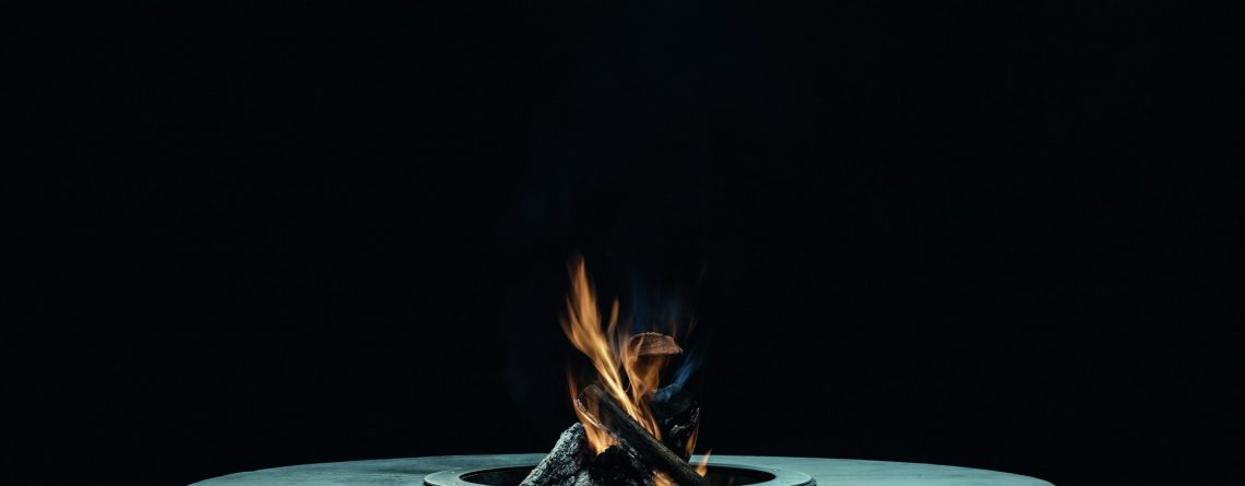 biofuel fire with a black background